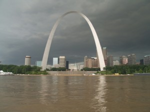 The St. Louis Arch in a thunderstorn. Photograph by Teresa Scott.