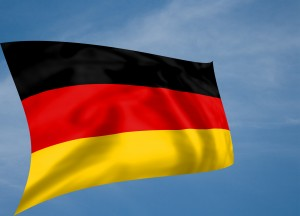 Rippled silk effect German flag with sky background
