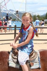 Little girl on pony.