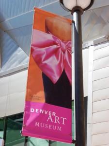 Denver Art Museum sign on lamp post