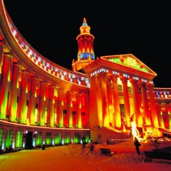 denver city & county building holiday lights
