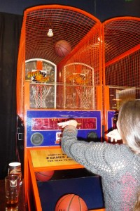 zea playing basketball at Dave & Buster's