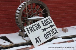 Farm Fresh Eggs sign at Timberlane Farm Museum HeidiTown