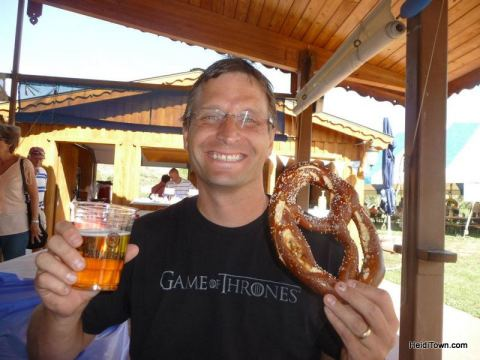 A very happy guy at Biergarten Festival in Morrison, Colorado. HeidiTown.com