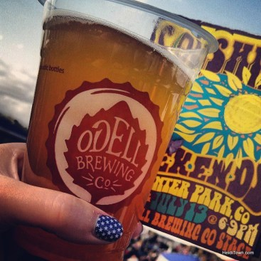 Enjoying a beer during Left Over Salmon at Hideaway Park in Winter Park. At SolShine Music Fest. HeidiTown.com