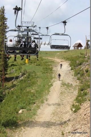 mountain bikers at Winter Park Resort. HeidiTown.com