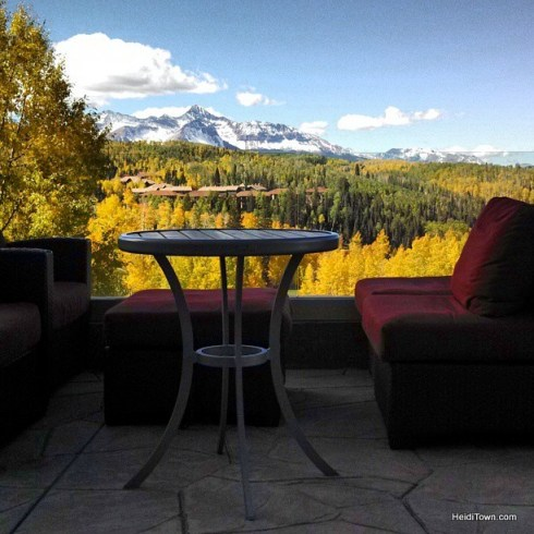 the million dollar view from the patio of the Peaks in telluride