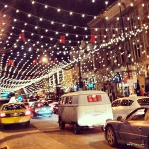 Larimer Street lit up for the holidays. in downtown Denver. HeidiTown.com