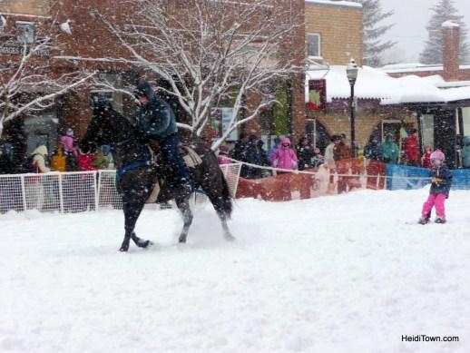 Winter Carnival Steamboat Springs, Colorado. Small kid Skijoring HeidiTown.com