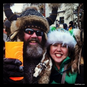 Ullr and the Mayor of HeidiTown at Ullf Fest 2014 in Breckenridge, Colorado. HeidiTown.com