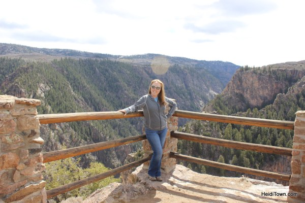 Heidi Kerr-Schlaefer, Mayor of HeidiTown.com, poses above the Gunnison River at the Black Canyon. HeidiTown.com
