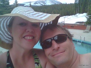 Heidi & Ryan soaking at the pool at Beaver Run Resort during the Breckenridge Wine Extravaganza. HeidiTown.com