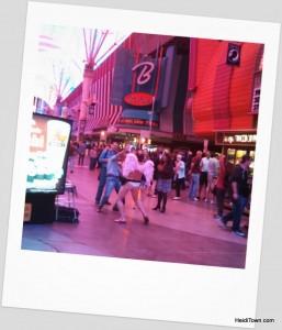 Cupid dancing on Freemont Street in Vegas. HeidiTown.com