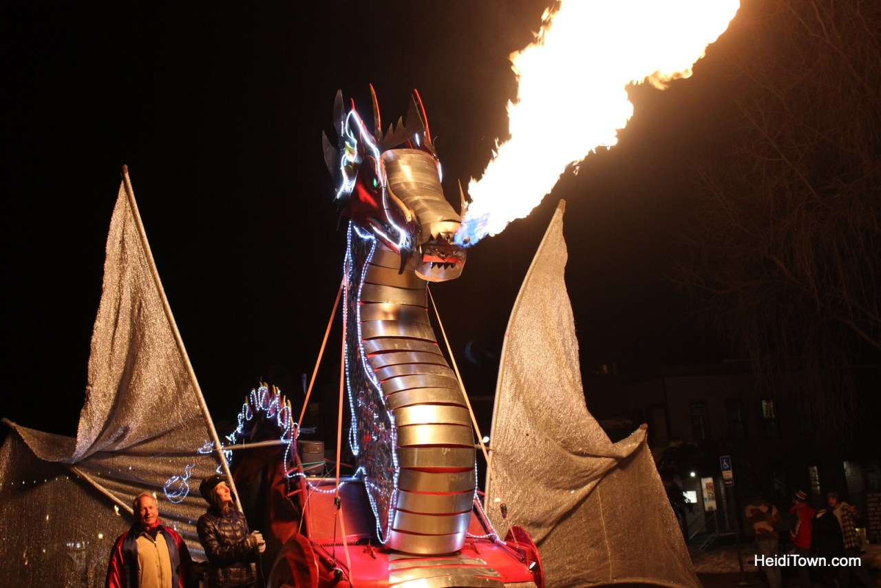 Fire breathing dragon at Telluride Fire Festival. Things to do in Telluride when you're not skiing. HeidiTown.com