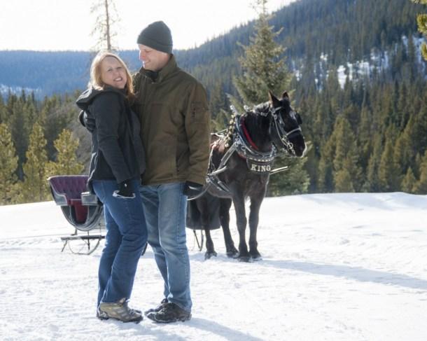 Heidi Kerr-Schlaefer & Ryan Schlaefer at Nordic Sleigh Rides in Breckenridge, Colorado. HeidiTown.com