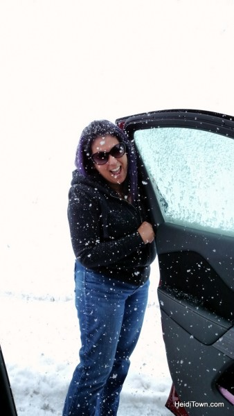 Kerri Ertman on Red Hill Pass in a snowstorm.Colorado travel, be prepared. HeidiTown.com