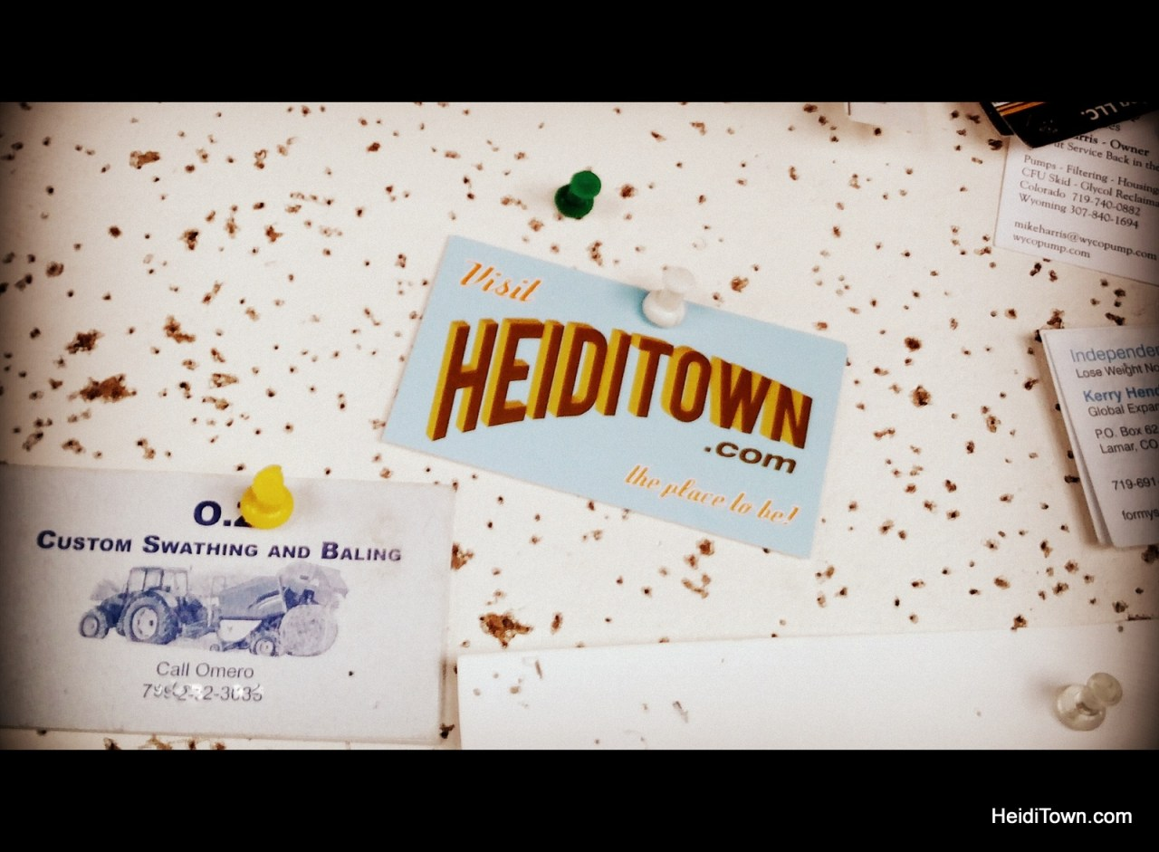 Left my calling card at The Trading Post Restaurant in Kit Carson, Colorado. HeidiTown.com