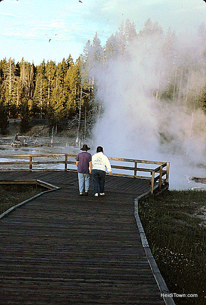 Mom and Son. Geysers in Yellowstone National Park. HeidiTown.com