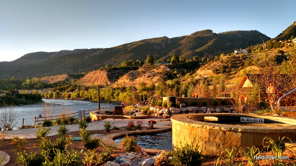 Sunset at Iron Mountain Hot Springs in Glenwood Springs, Colorado. HeidiTown.com