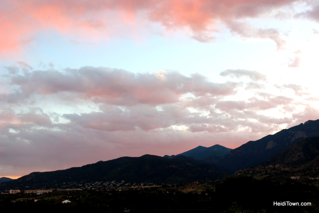 Sunset from the Victorian Room patio at Old Town Guest House in Colorado Springs. HeidiTown.com