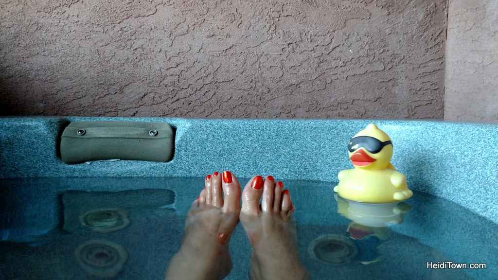 hot tub on the patio of the Victorian Room at The Old Town Guest House in Colorado Springs. HeidiTown.com