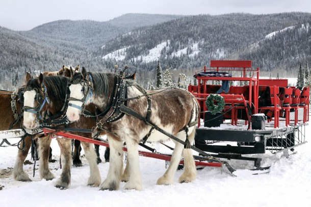 Romantic Winter Getaways in Colorado. Sleigh ride in Grand Lake.