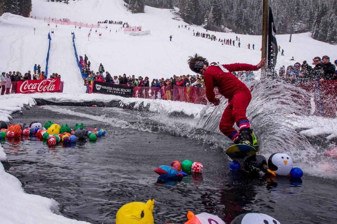 Spring slopeside festivals in Colorado. Pond skimming in Winter Park