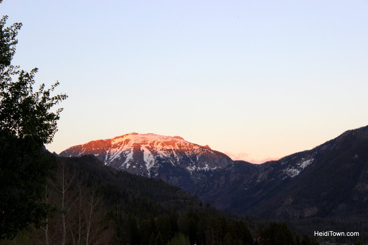 The perfect day in Grand Lake. Mount Baldy turning pink from the Western Riviera Lakeside Lodging condo. HeidiTown.com