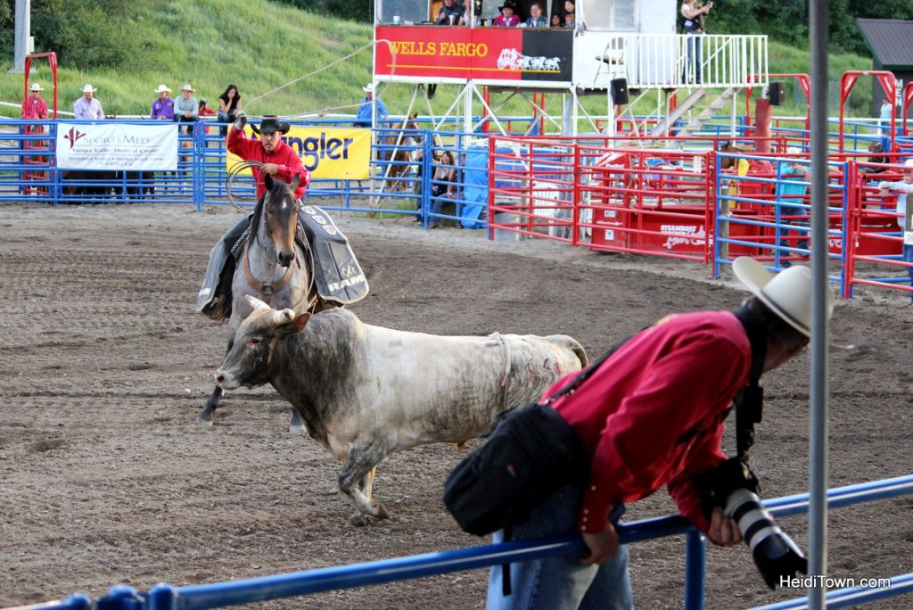 Kickin' it at the Pro Rodeo in Steamboat Springs. Bull scares photographer. HeidiTown.com