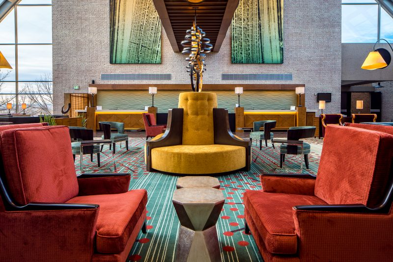 A staycation at the Hilton Denver Inverness in the Denver Tech Center. Lobby shot