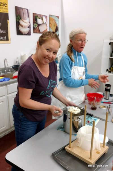 Cheese Making Class in Longmont is Deliciously Fun. Heidi makes cheese. HeidiTown.com