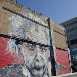 The Mayor Goes Shopping in Downtown Greeley. Einstein in mural. Courtesy of Visit Greeley