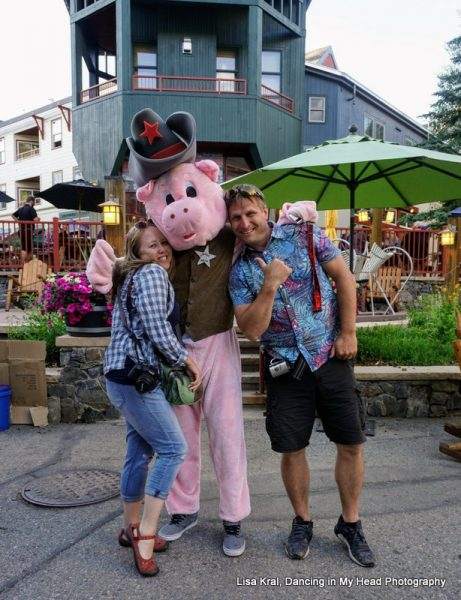 Heidi & Ryan with the pig mascot at Keystone Bacon & Bourbon Festival. Photo by Lisa Kral, Dancing in My Head Photography