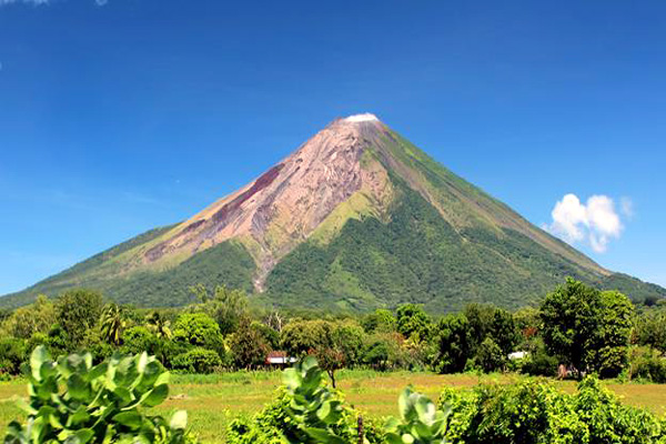 Sleepy isolated island Eden-like natural beauty spread active volcanoes in central America.