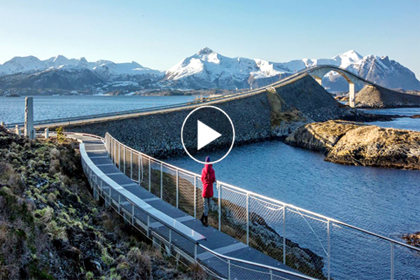 Modern engineering spectacular Atlantic Ocean road amazing construction considered beautiful tourist route in World.