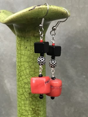 Coral (dyed), Onyx, Faceted Black Spinel Gems, Sterling Silver (Bali)