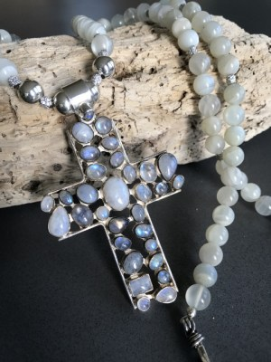 Moonstone Cabochon Cross – XL Single Strand Gems Necklace With Pendant