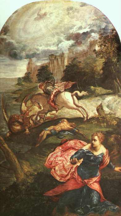 Jacopo Robusti Tintoretto: Georg und der Drache, 1560, National Gallery in London