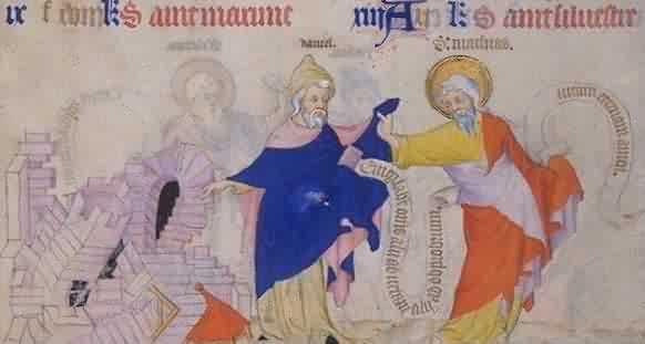 Petites Heures des Johannes von Berry: Matthias (rechts) mit dem Propheten Daniel, 14. Jahrhundert, Bibliothèque Nationale de France in Paris