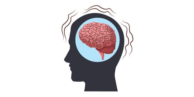 Silhouette d'une tête avec dessiné dans le cerveau.