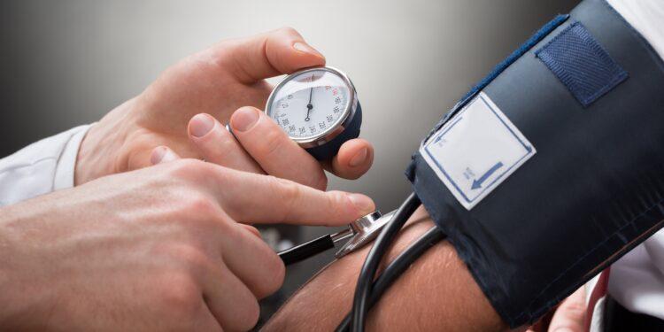 Blood pressure is measured.