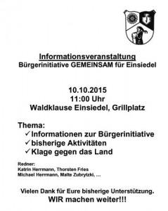Kundgebung 10.10.15 an der Waldklause