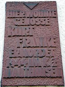 Gedenktafel am Kurt Franke Haus