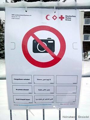 Fotografieren-verboten-Schild an der Erstaufnahme