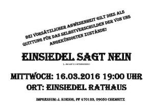 Aushang für die Demo am 16.03.2016