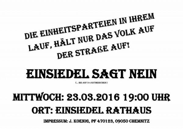 Flyer für die Demo am 23.03.2016