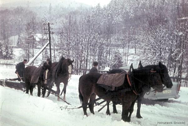 Winterdienst auf der Kurt-Franke-Straße in Einsiedel 1965