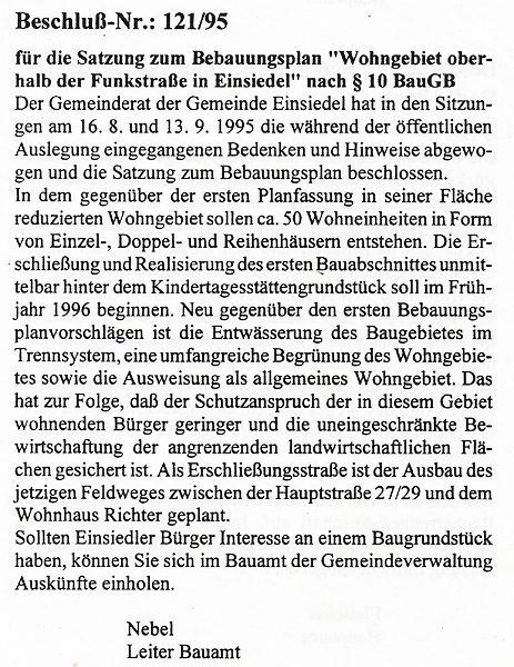 Gemeindeanzeiger Einsiedel Oktober 1995