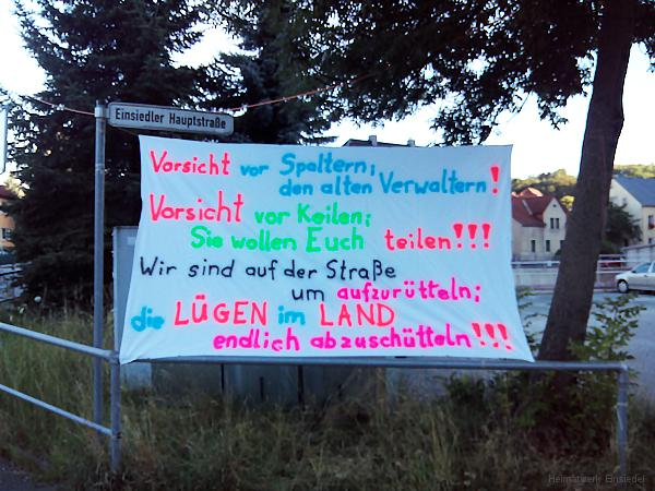Protestbanner in Einsiedel am 20.07.2016