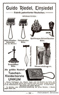 Reklameanzeige Guido Riedel Einsiedel 1905